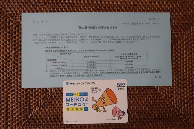 明光ネットワーク(4668) 株主優待 1000円分のクオカード