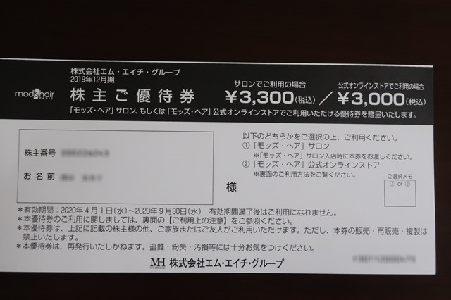 モッズヘア 株主優待 エム・エイチ・グループ ヘッドスパ 9439